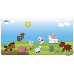 Farm metal board with 10 figures