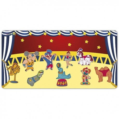 Circus metal board with 10 figures