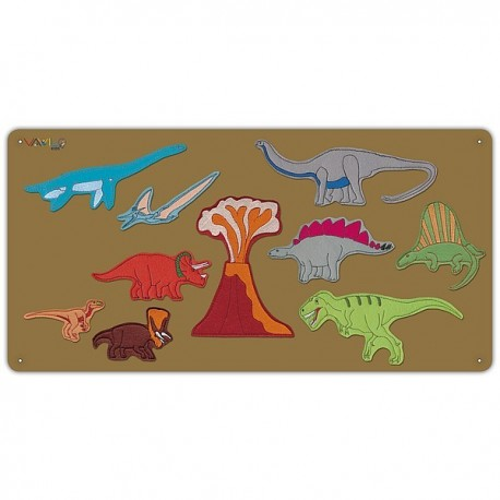 Brown metal board with 10 dinosaurs