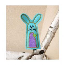 Blue bunny finger puppet